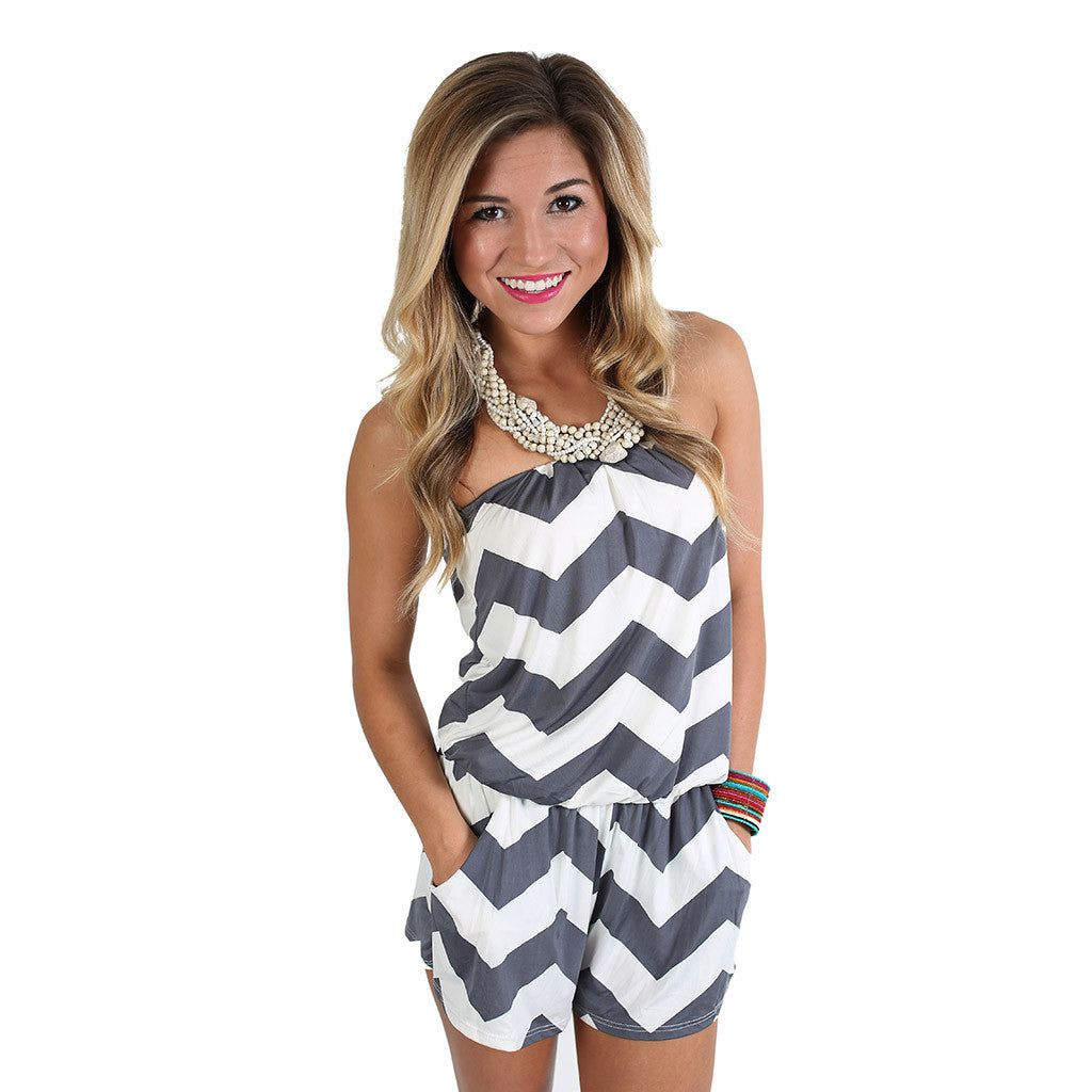 Beachy Stripe Romper Grey