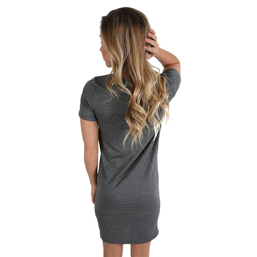 V-Neck Tee Dress in Charcoal