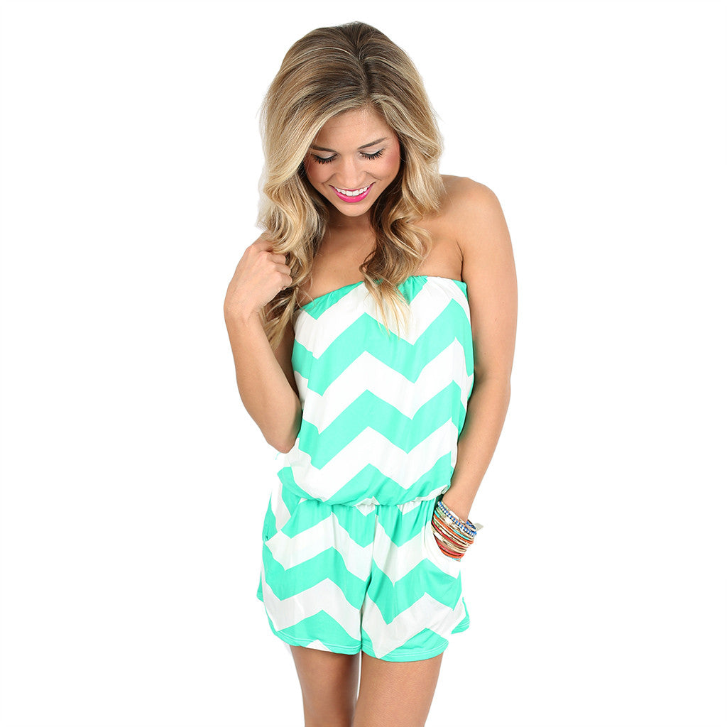 Beachy Stripe Romper Mint