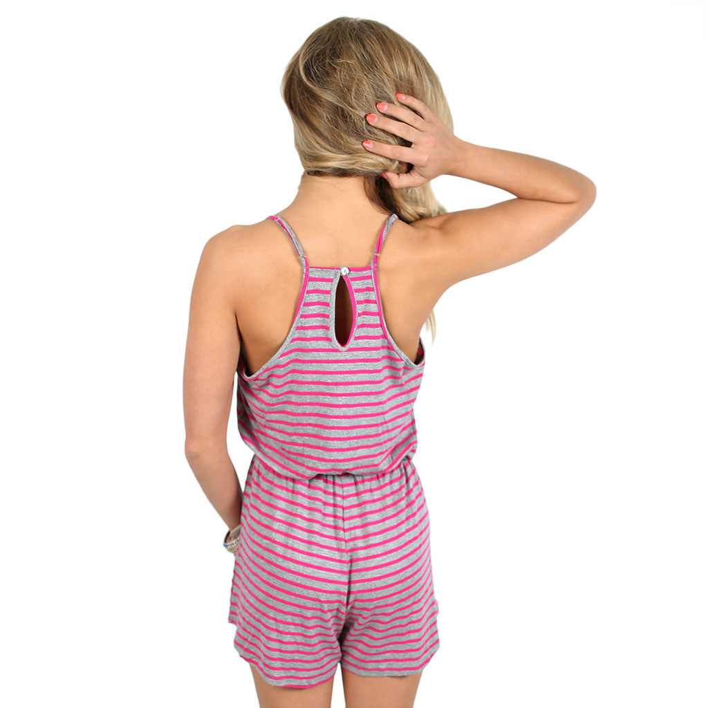 Feeling Fine Romper in Fuchsia