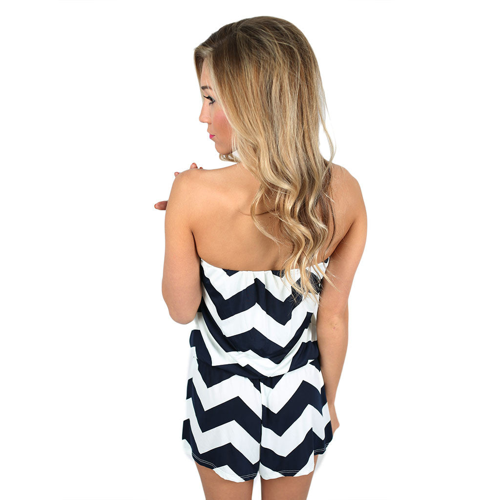 Beachy Stripe Romper Navy