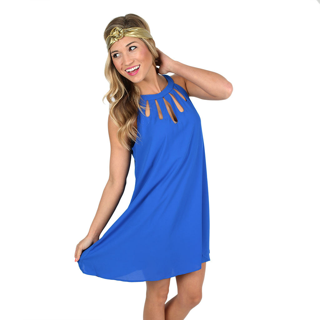 On Patio Time Dress in Royal Blue