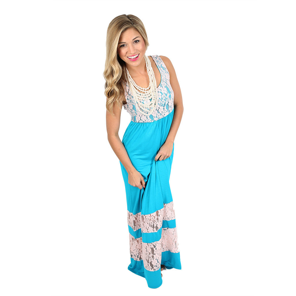 Lace Divine Maxi in Turquoise