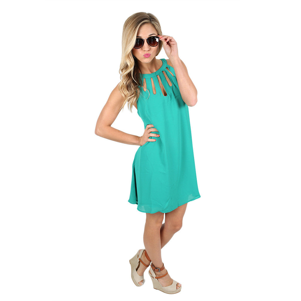 On Patio Time Dress in Teal