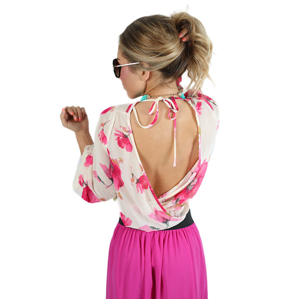 Floral Frenzy Top Ivory