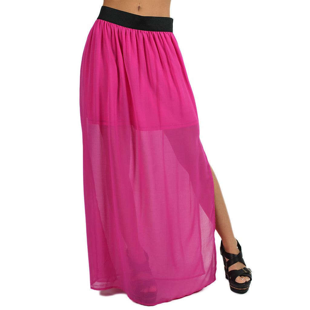 How Dashing Maxi Skirt in Magenta