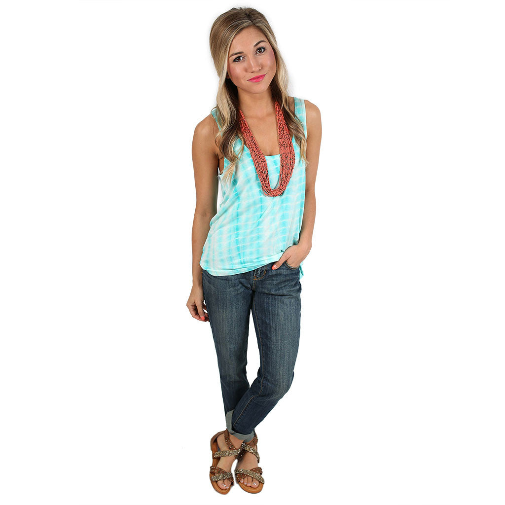 PIKO Tie Dye Tank in Turquoise