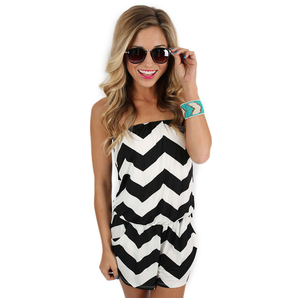 Beachy Stripe Romper Black