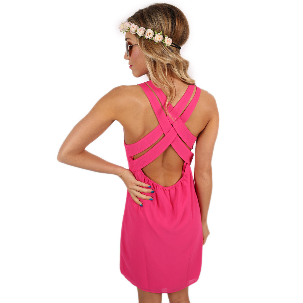 Sangria Sipping Dress in Fuchsia
