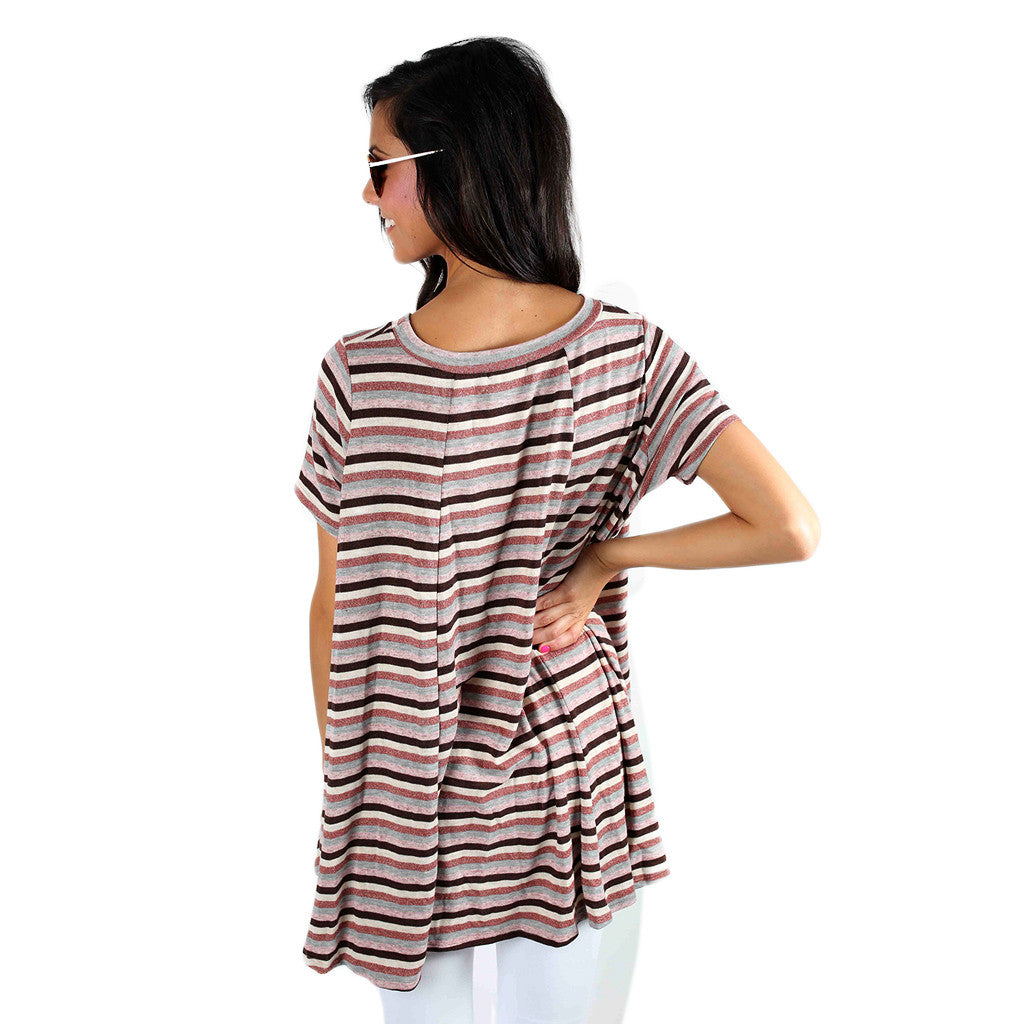 Luxe Stripe Tee Pink