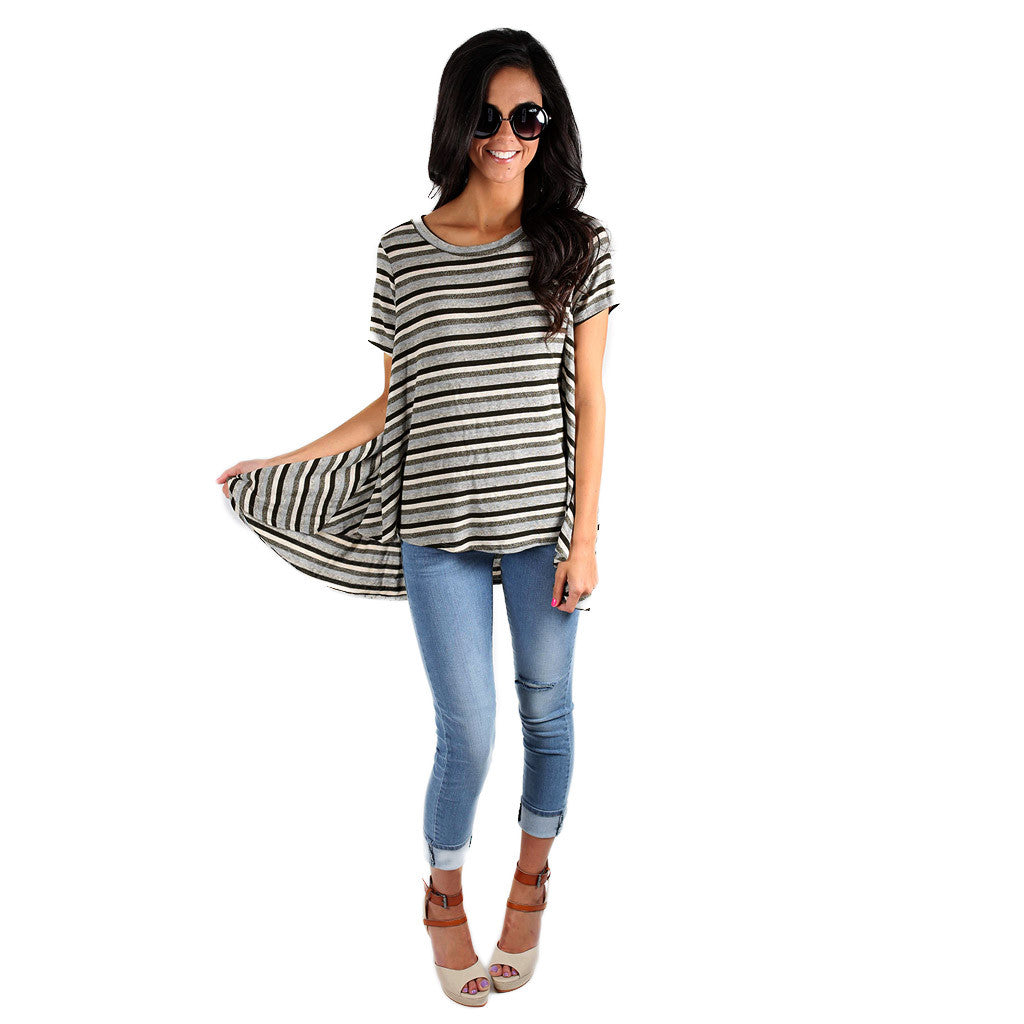 Luxe Stripe Tee Olive