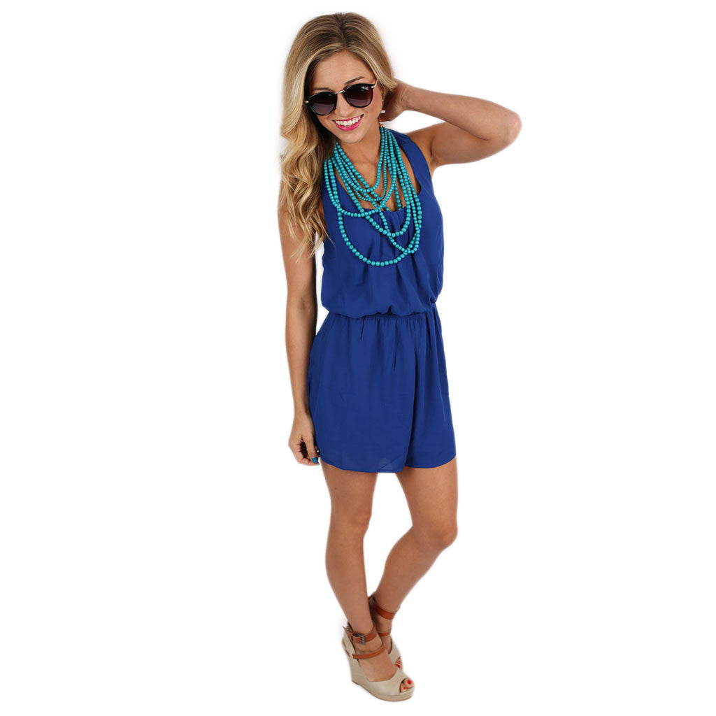 Chiffon, Please Romper Royal Blue