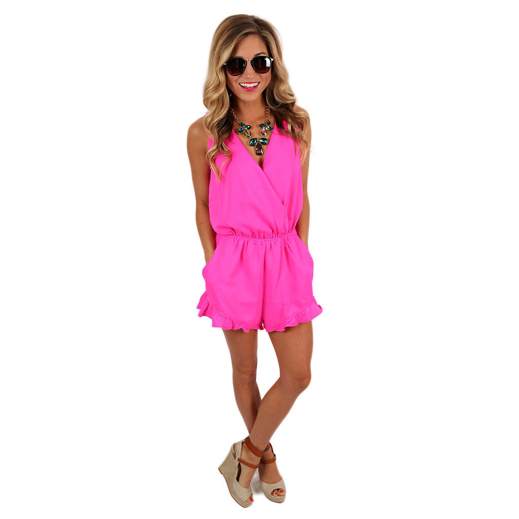 Meet Me In Cabo Romper in Hot Pink