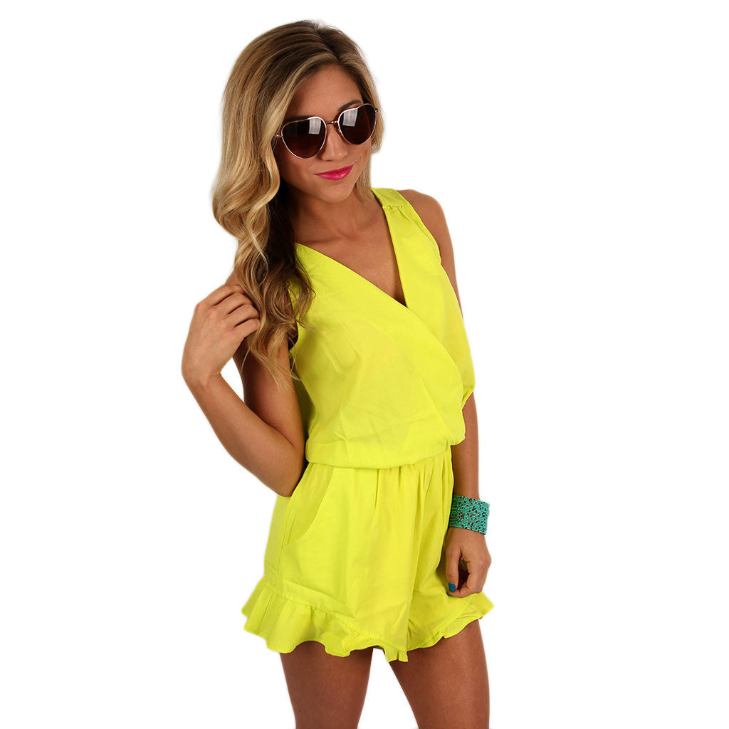 Meet Me In Cabo Romper In Lime