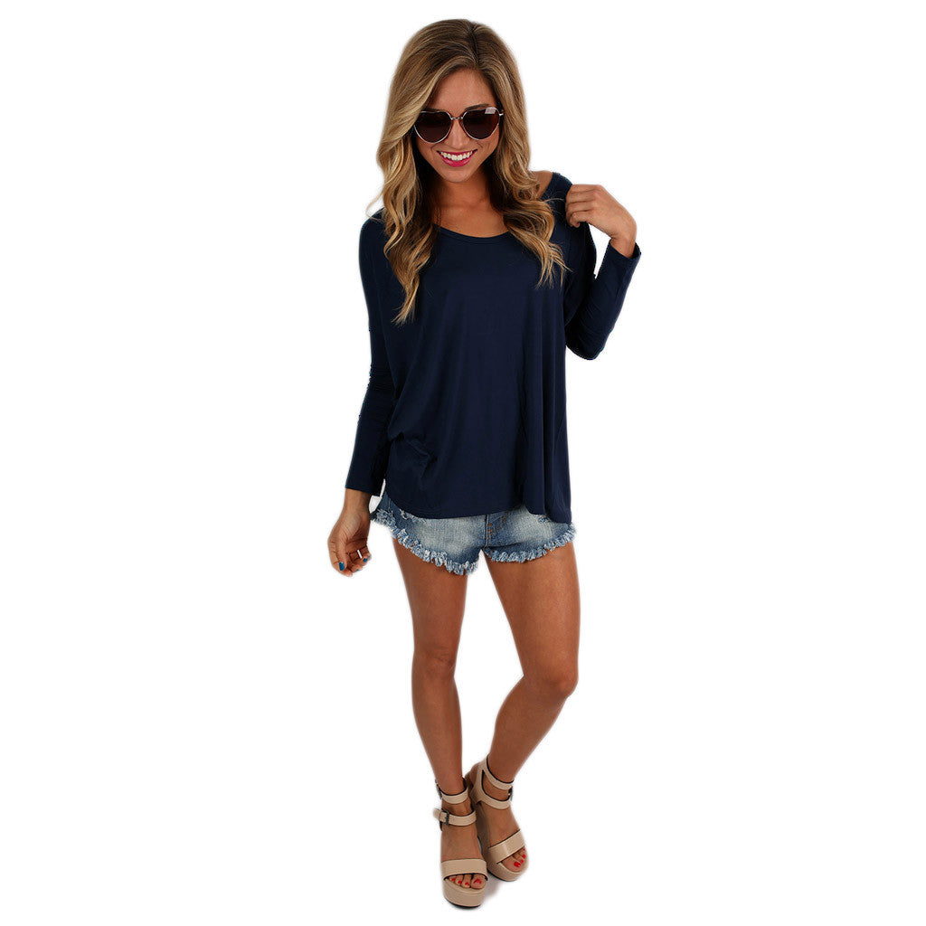 PIKO Tee Scoop Neck in Navy