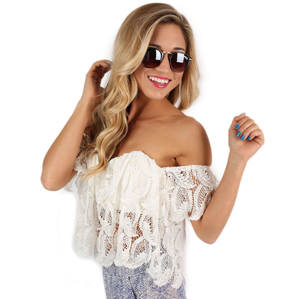 Southern Lace Crop in White