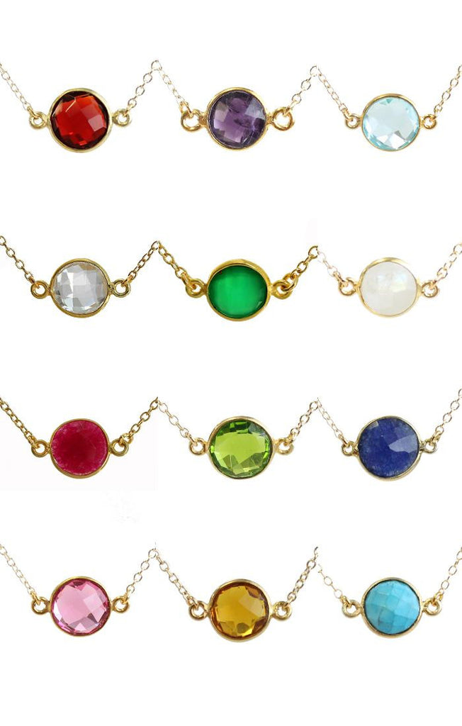 Kris Nations Birthstone Necklace Gold