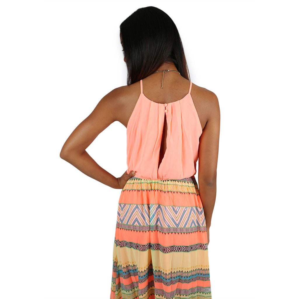 Acapulco Sunset Maxi in Neon Peach