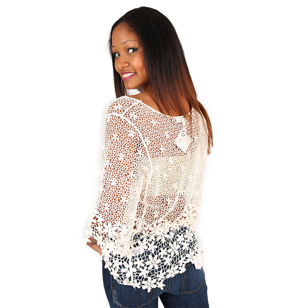 True Love Crochet Top in Ivory