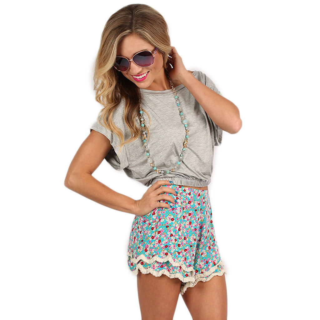 Pick Me Floral Short Turquoise