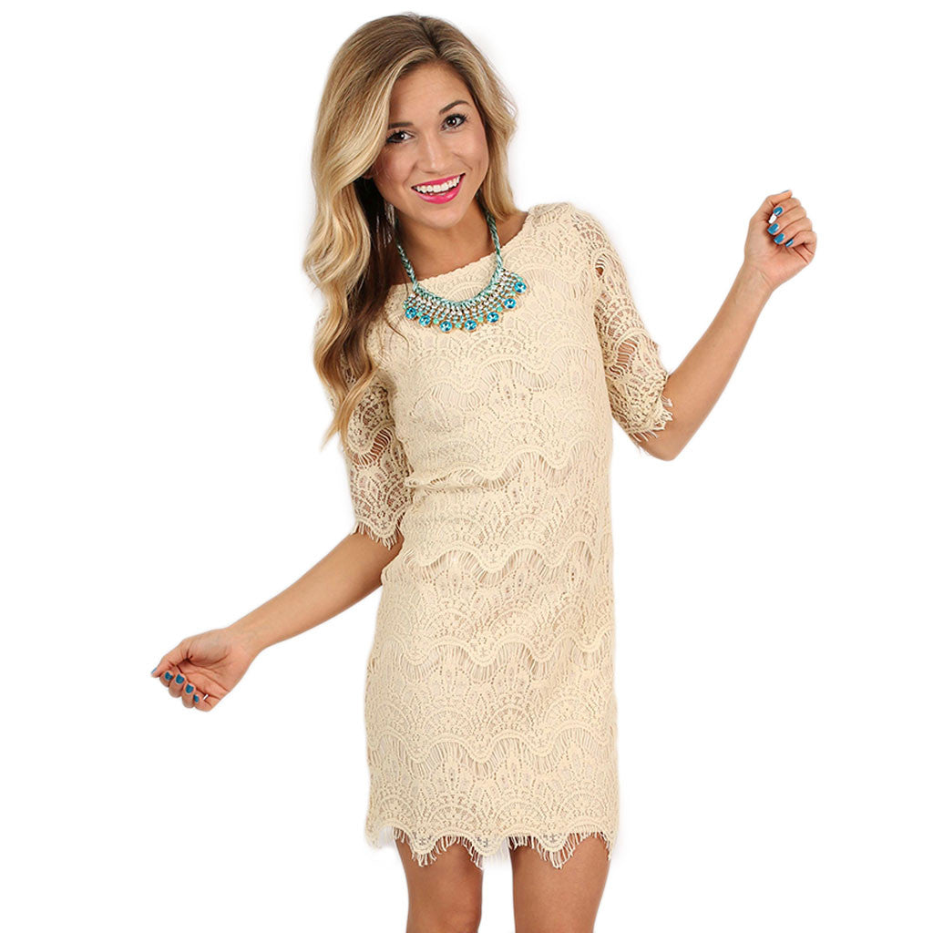 Close Knit Dress in Beige