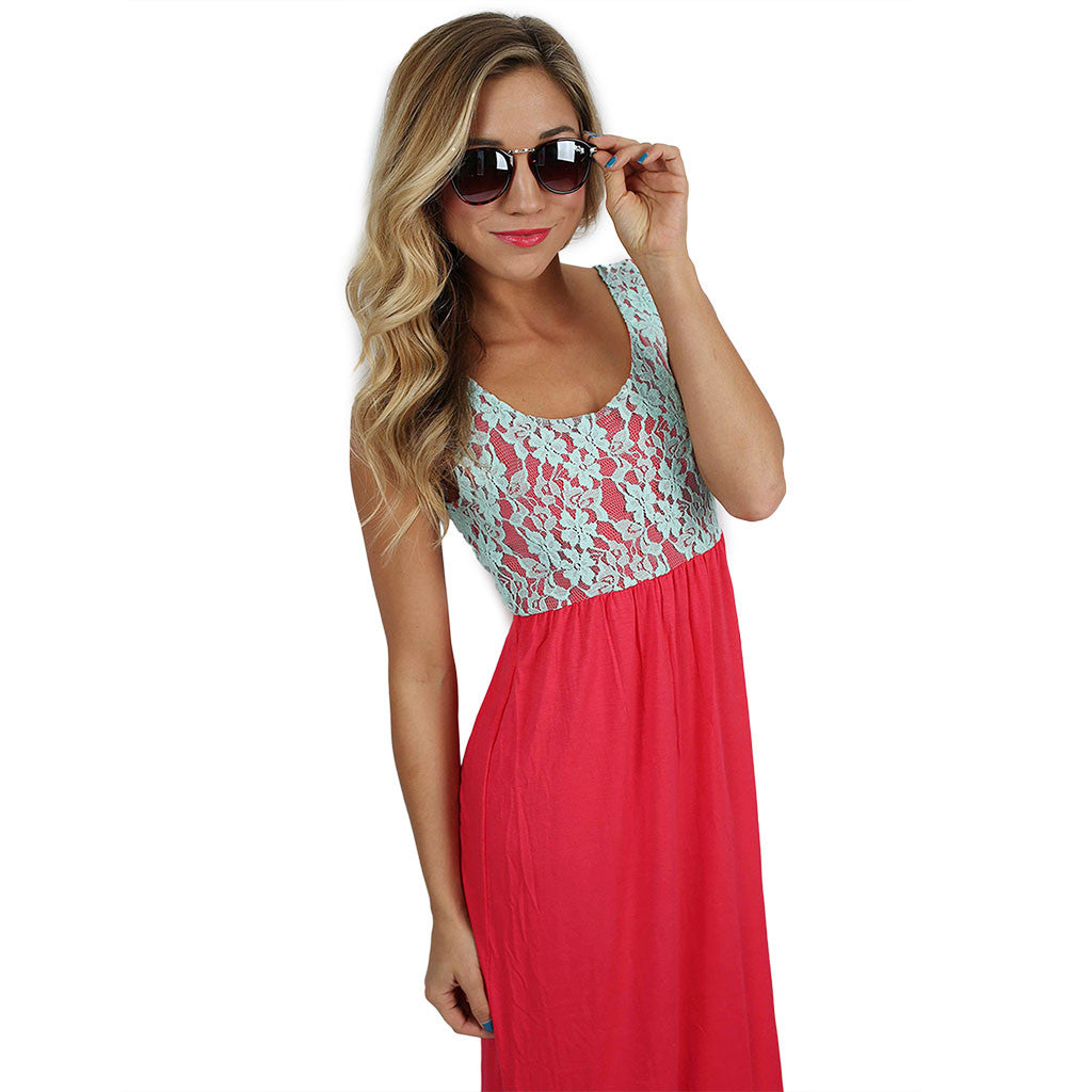 Lace Divine Maxi in Hot Pink