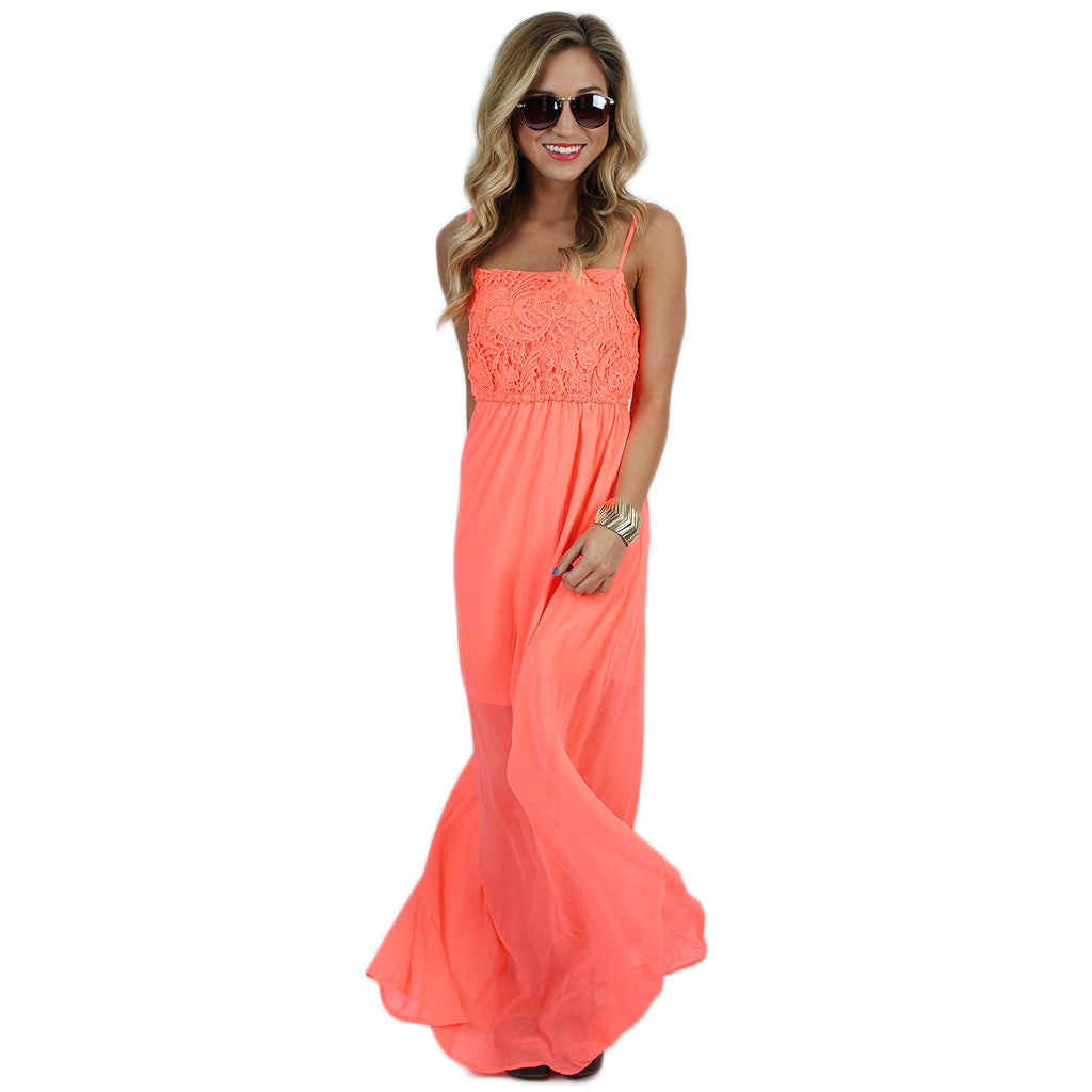 Sweetest Serendipity Maxi in Neon Coral