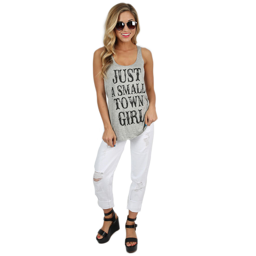 Just a Small Town Girl Tank Grey
