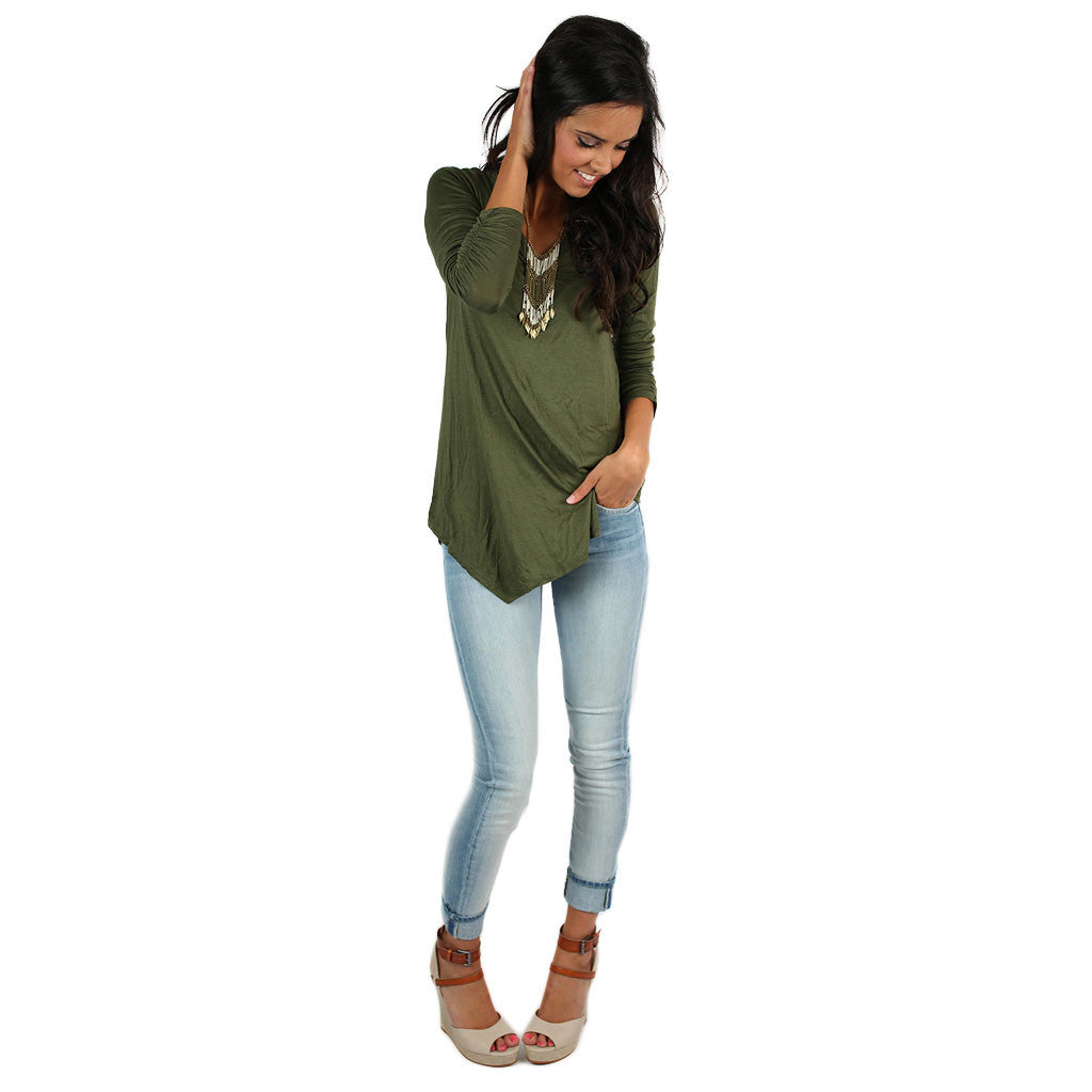 Not Your Boyfriend's Tee in Olive