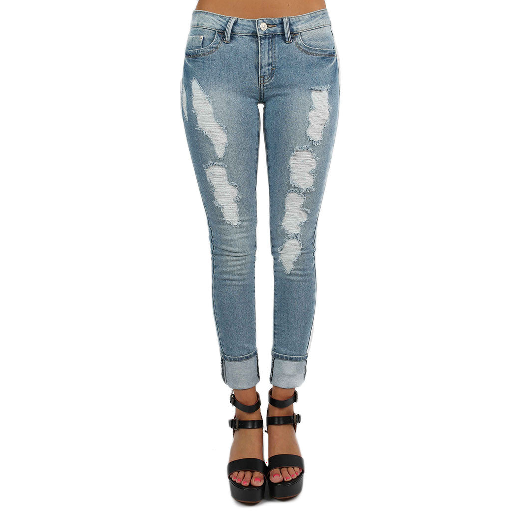 Destroyed Skinny Jean Medium Blue