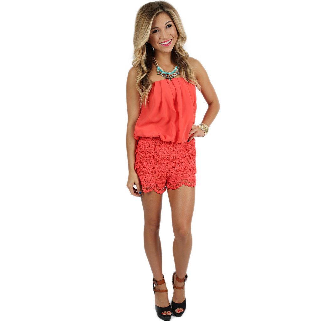 Born For Hollywood Romper in Coral
