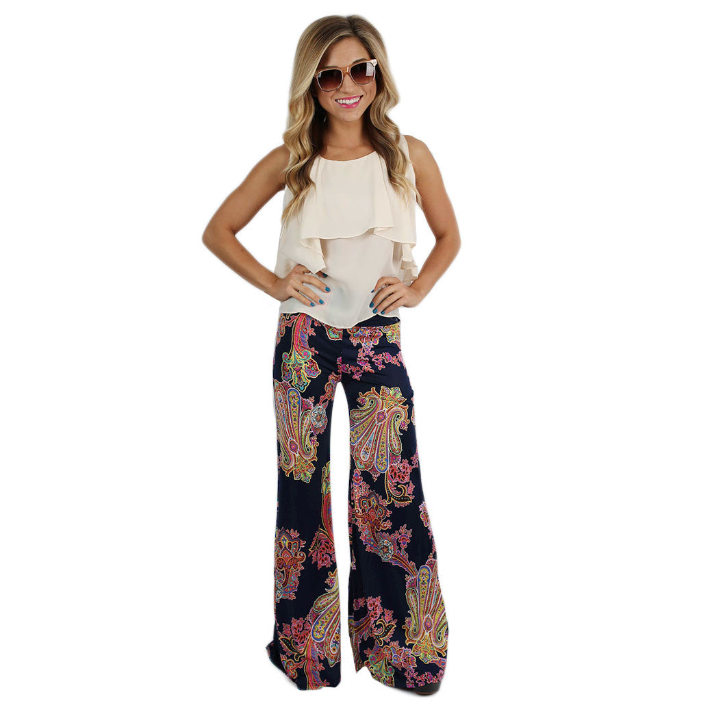 Pretty Like Paisley Pants Navy