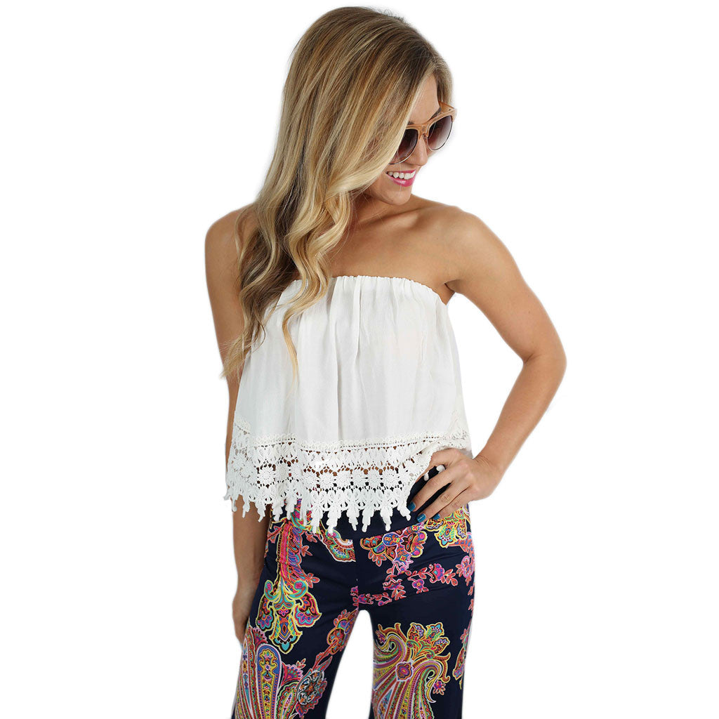Beautiful Bohemian Crop Top White