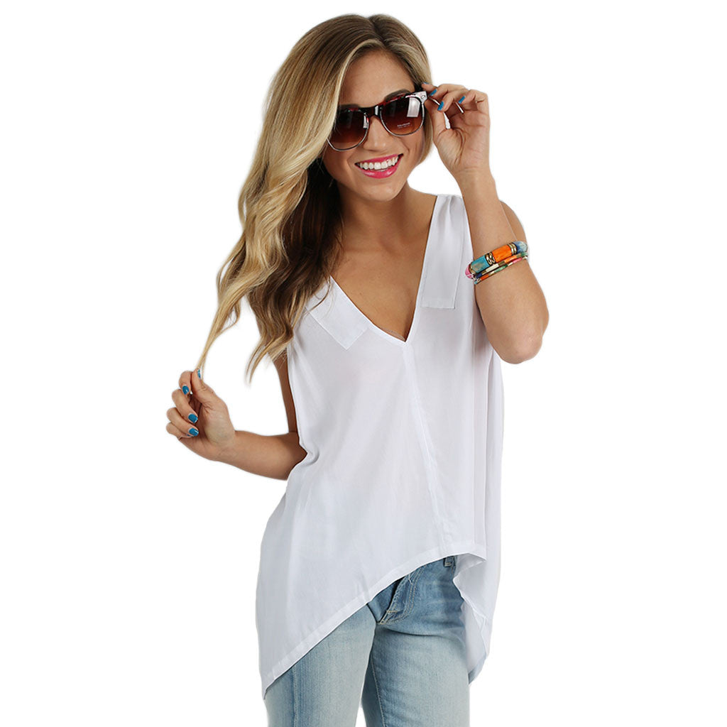 PIKO V-Neck Tank in White