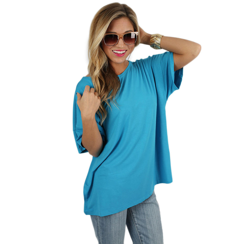 PIKO Loose Fit Tee in Bright Blue