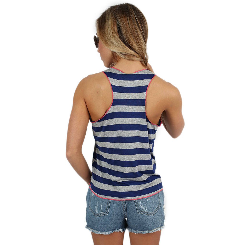 Crop & Flare Tank in Navy
