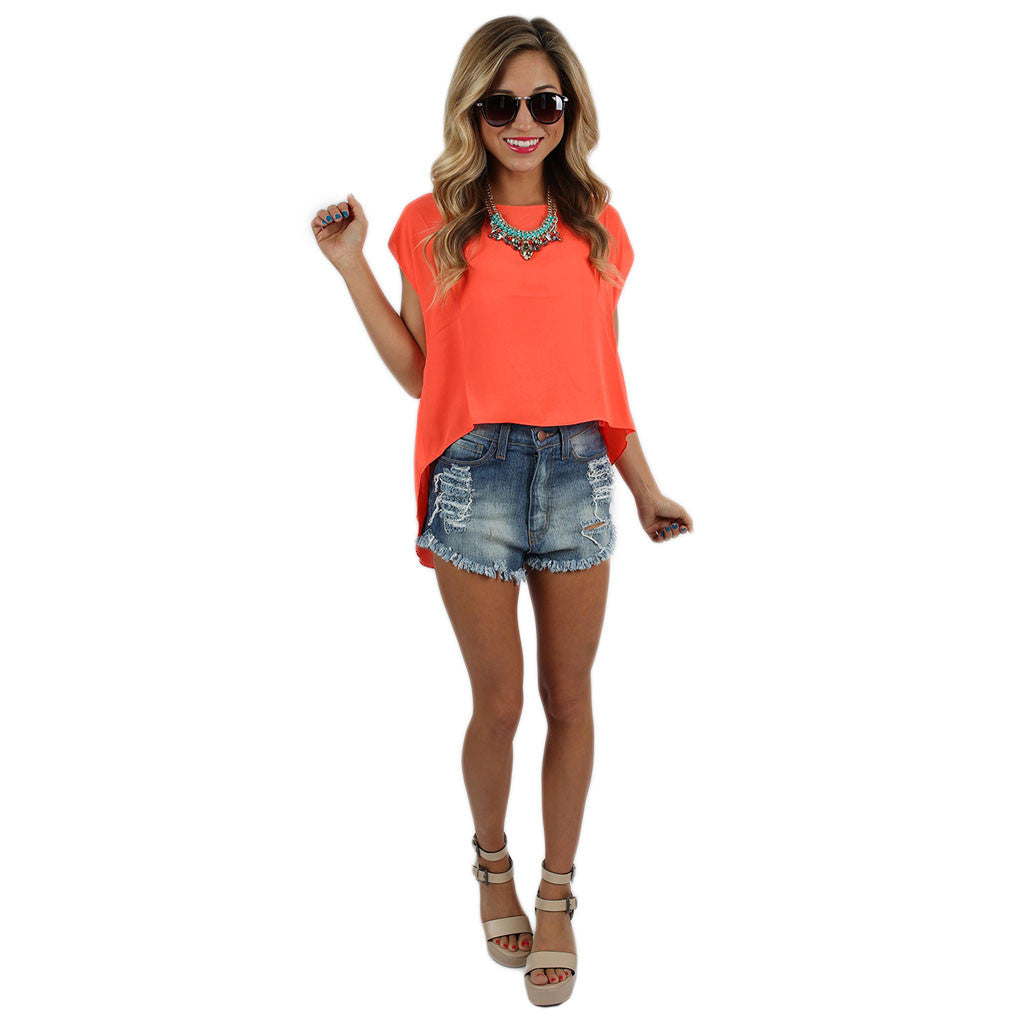 Bright & Beautiful Top Neon Coral