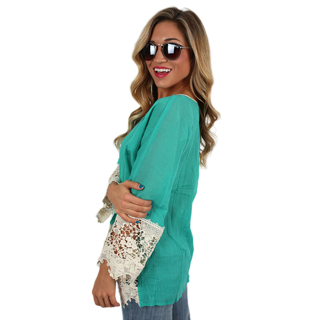 Free Spirit Lace Trim Tunic in Jade