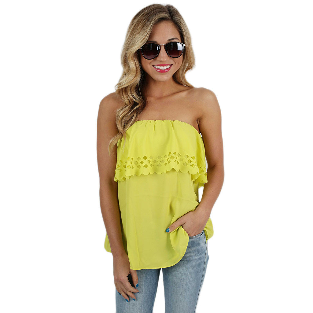 Summer Sunset Strapless Top in Lime – Impressions Online ...