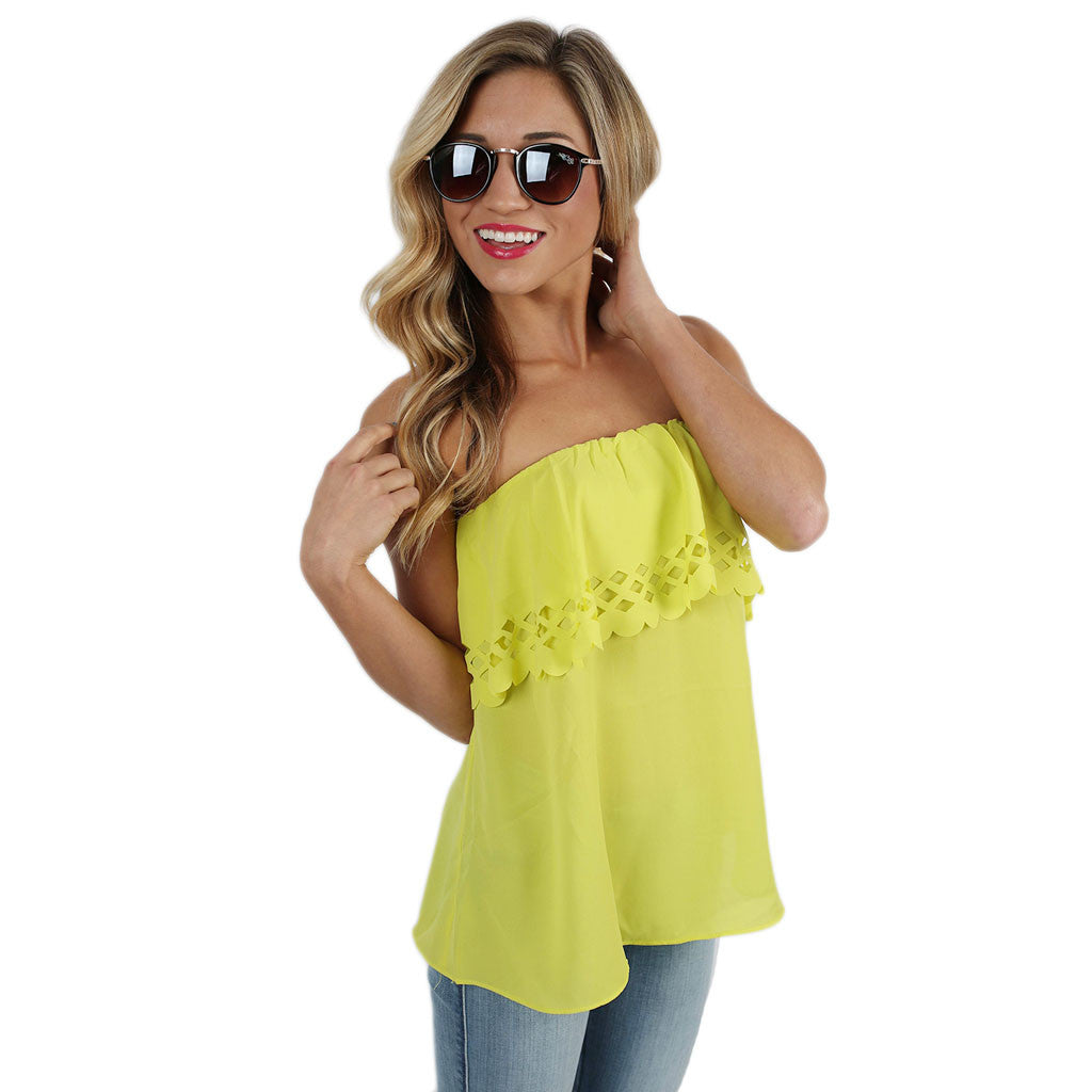 Summer Sunset Strapless Top in Lime