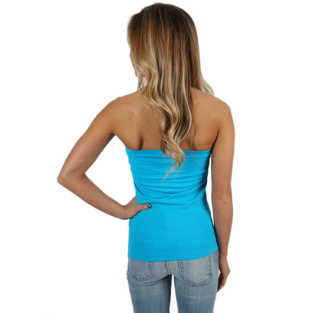 Strapless Seamless Top in Aqua