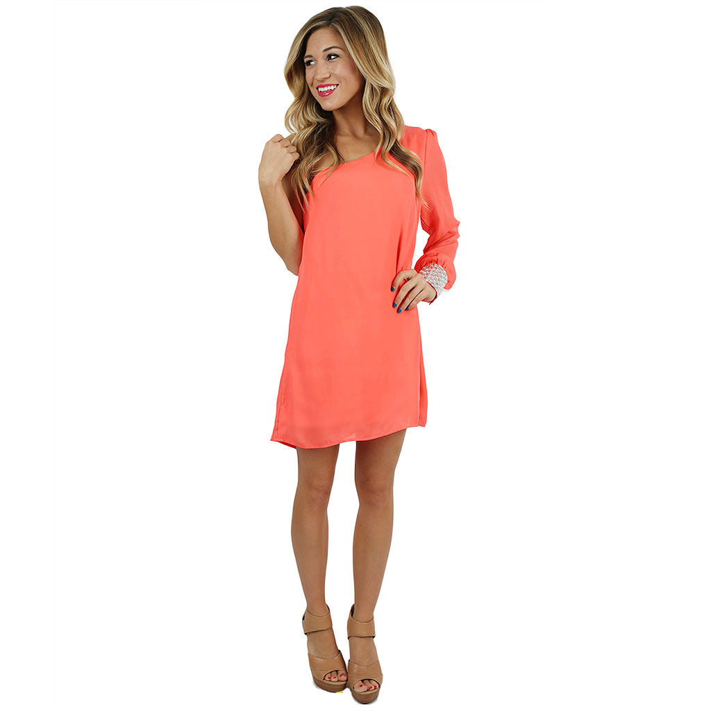 Move To The Music Dress in Neon Coral