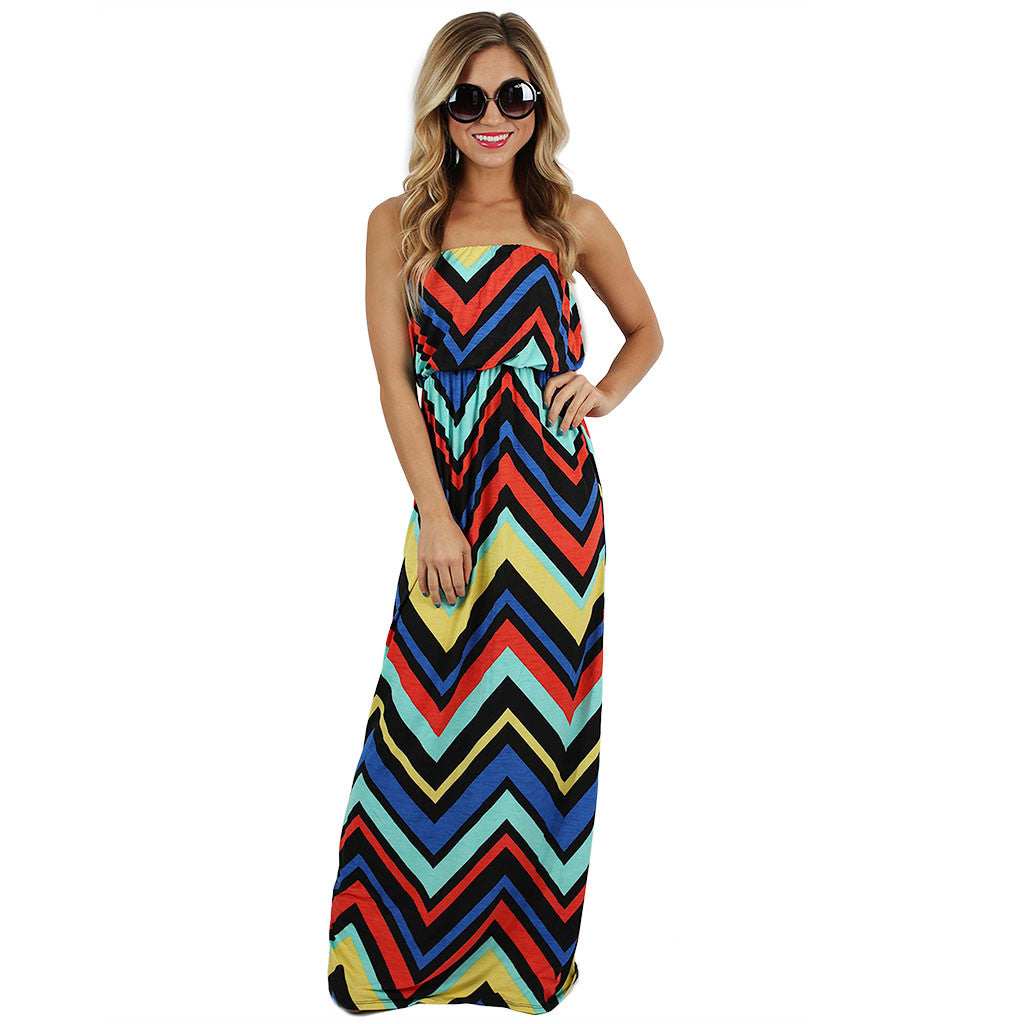 Patio Season Maxi in Royal Blue/Red