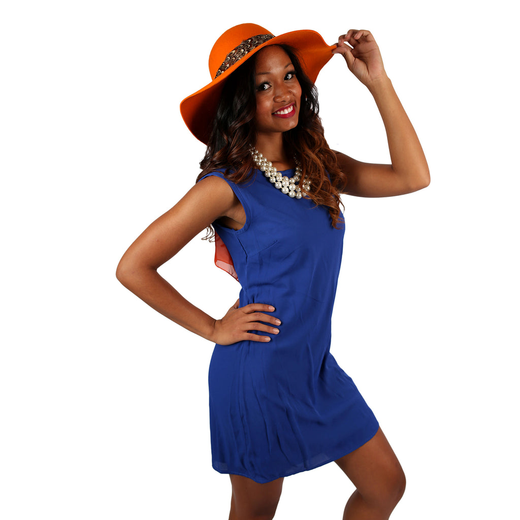 Bows & Kisses Sleeveless Dress Royal Blue