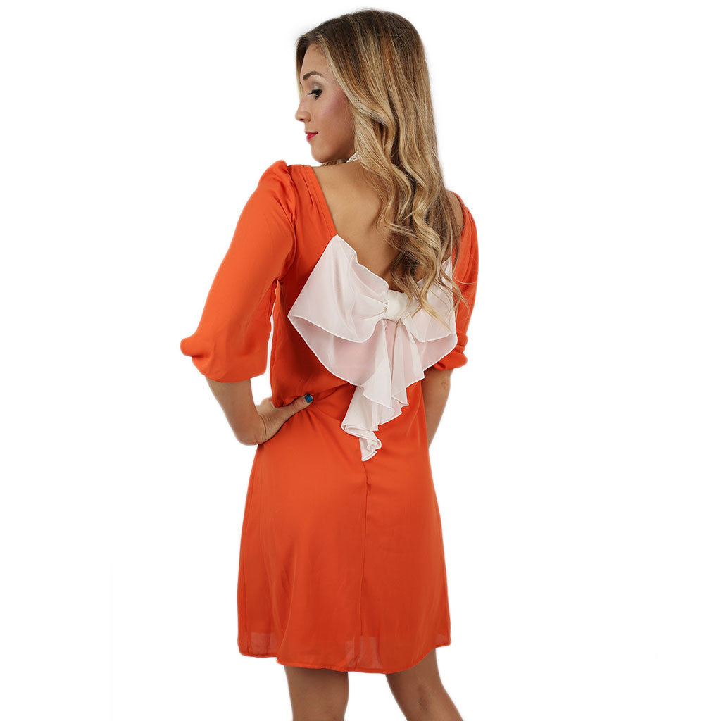 Bows & Kisses Dress Orange