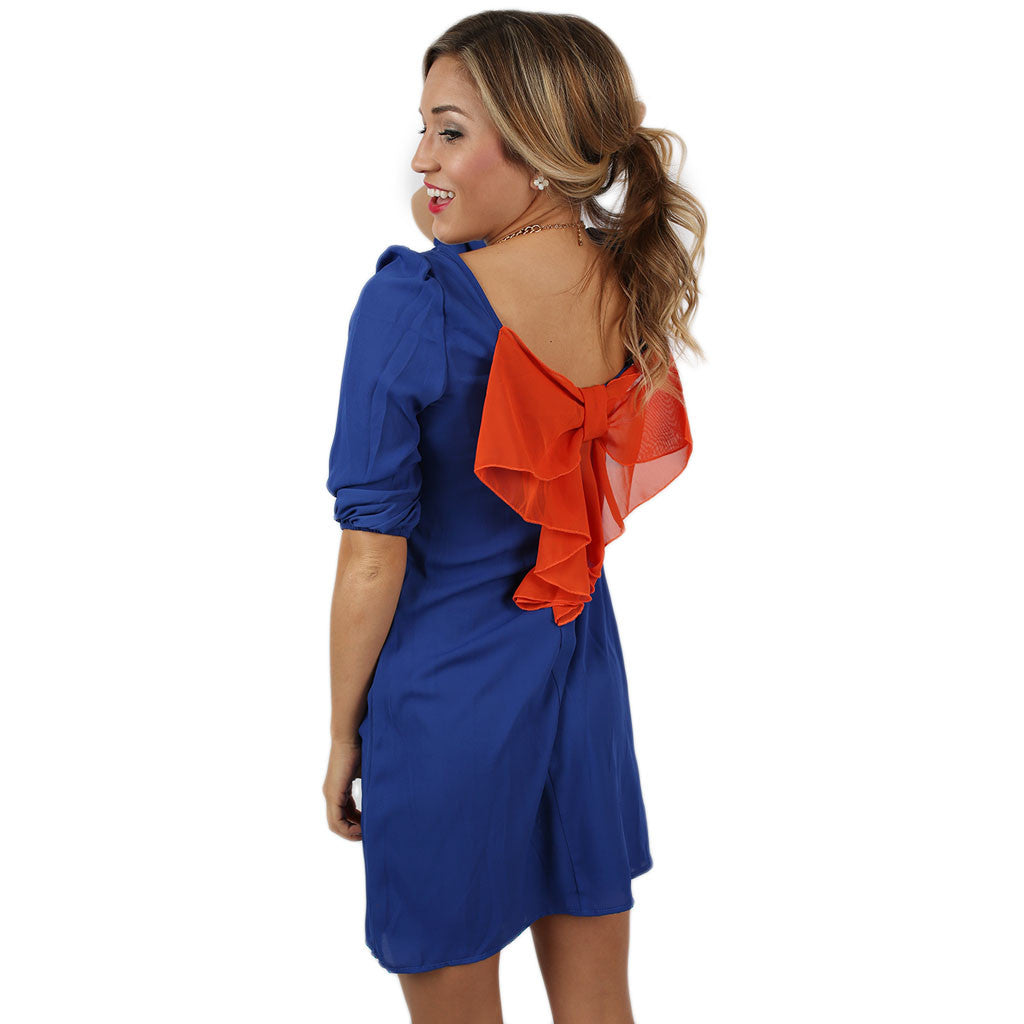 Bows & Kisses Dress Royal Blue