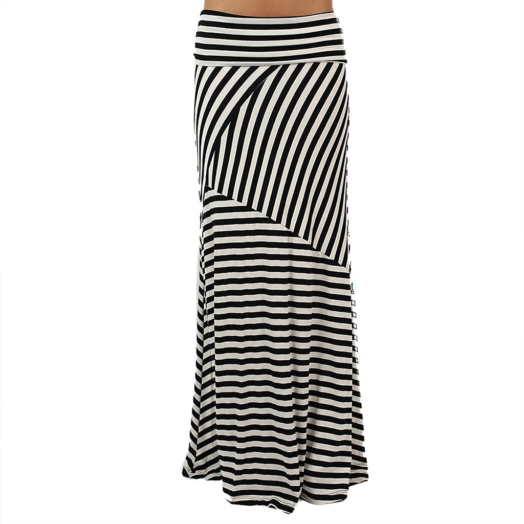 Smitten In Stripes Maxi Skirt in Black