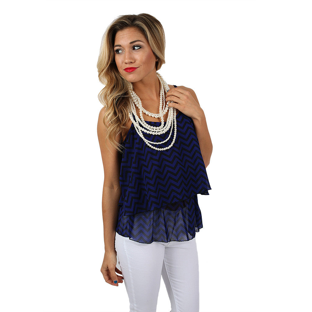 Cheers to Stripes Tank Royal Blue