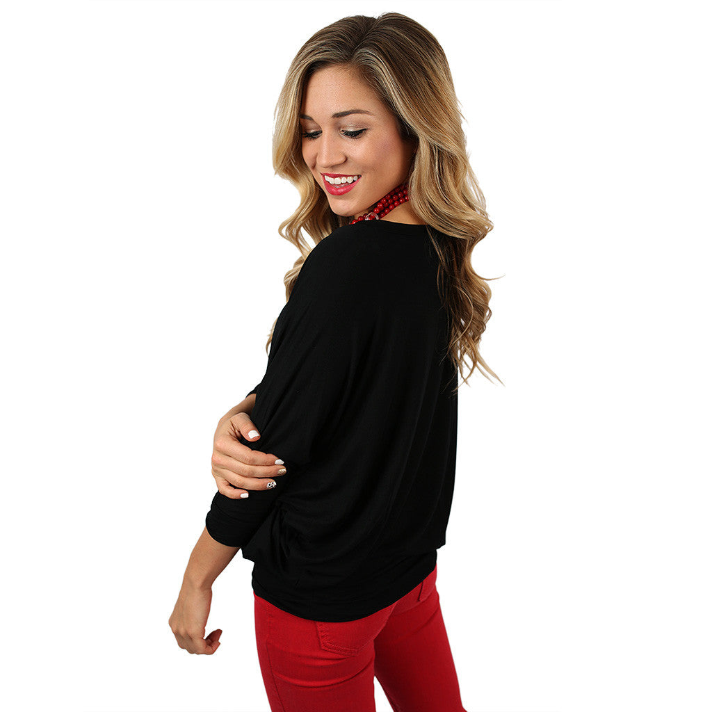 Color Me Lovely Dolman Tee in Black