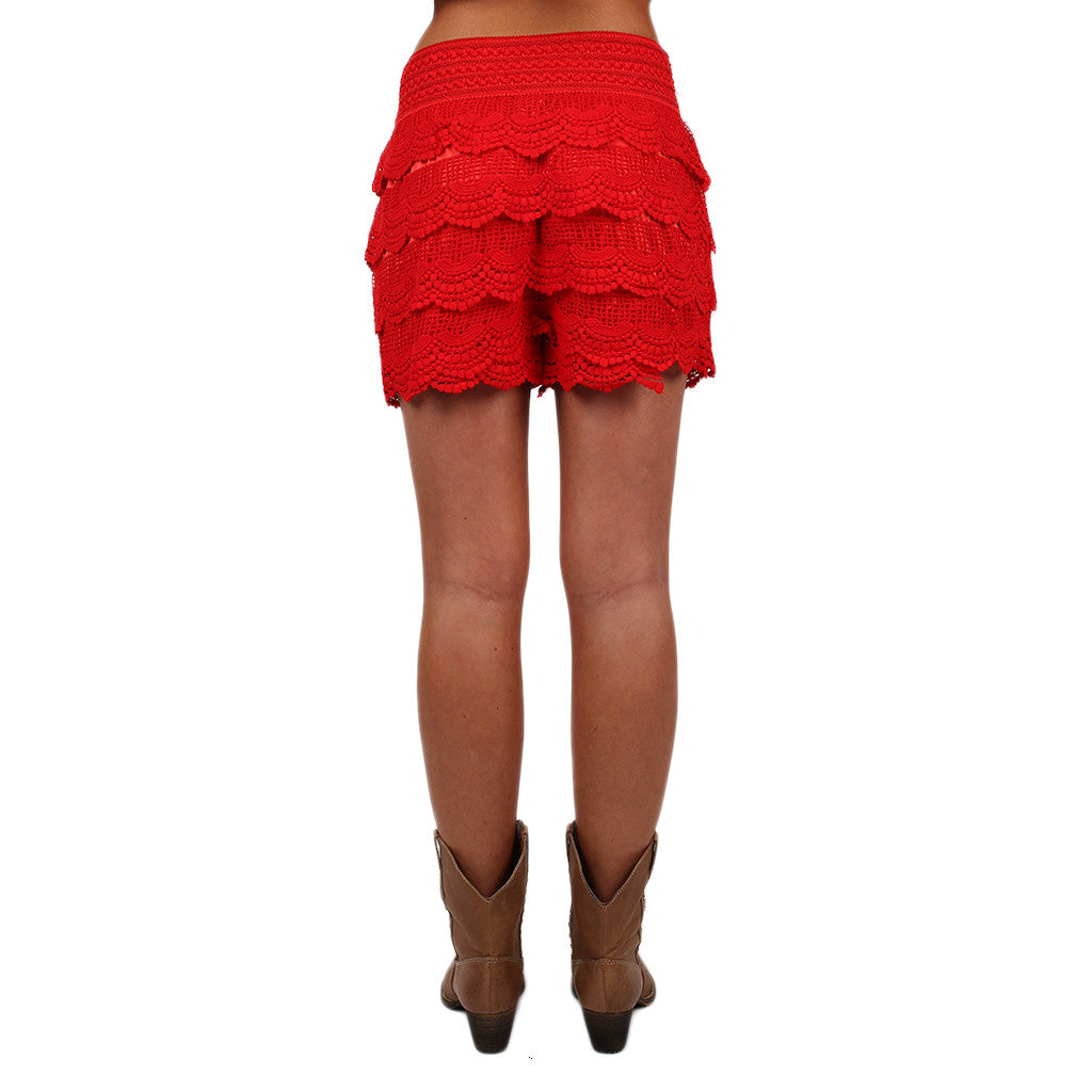 Front Row Cheers Shorts in Red